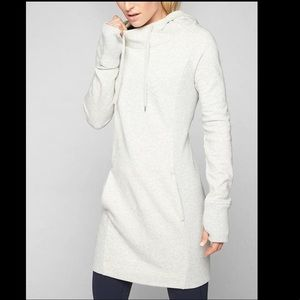 Athleta Hayes gray hoodie dress with pockets sz S